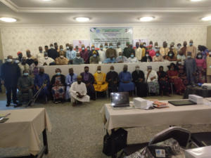 In the group picture are Honourable Commissioners, the Permanent Secretaries, Representatives of all the 13(thirteen) States in the NE/NW, development partners and CSOs at the Zonal consultation on the Review of the National Social Protection Policy and the acceleration of SDGs implementation in Nigeria, in Kano